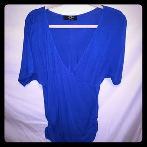 Made by Johnny Royal Blue Faux Wrap Ruched Top